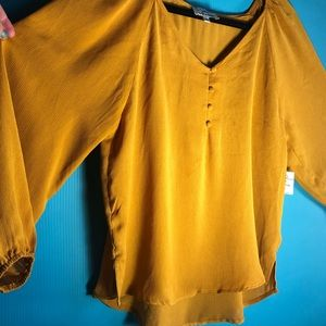 NWT Twine & String mustard yellow LS blouse large